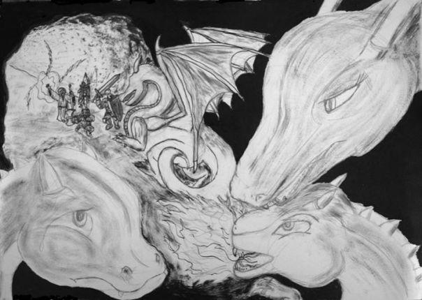 Ilustração em nanquim com a família dragão