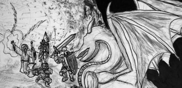 Nanquim com close no dragão maior enfrentando os aventureiros humanos
