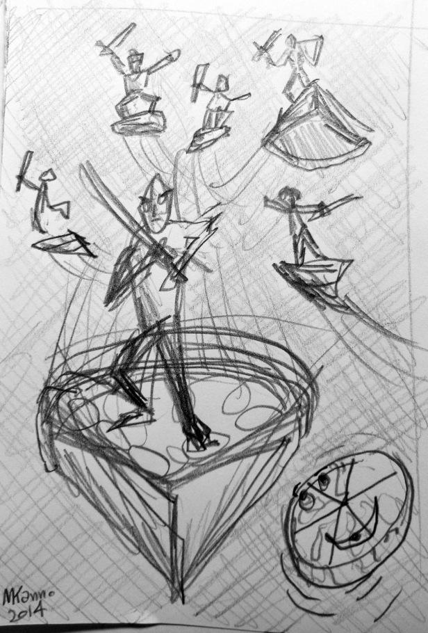 """Desenho de """"Os Vingadores da Pizza"""""""