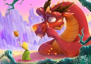 1600x1131_10548_Red_dragon_and_princess_green_2d_fantasy_dragon_princess_cartoon_humor_picture_image_digital_art